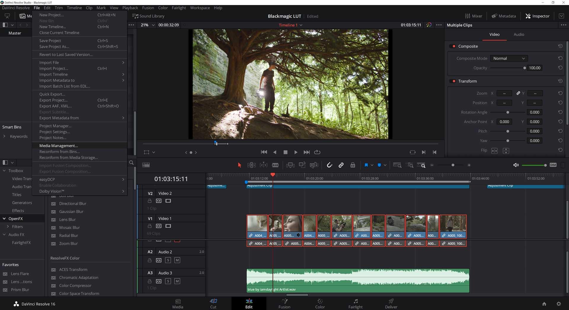 davinci resolve editing software