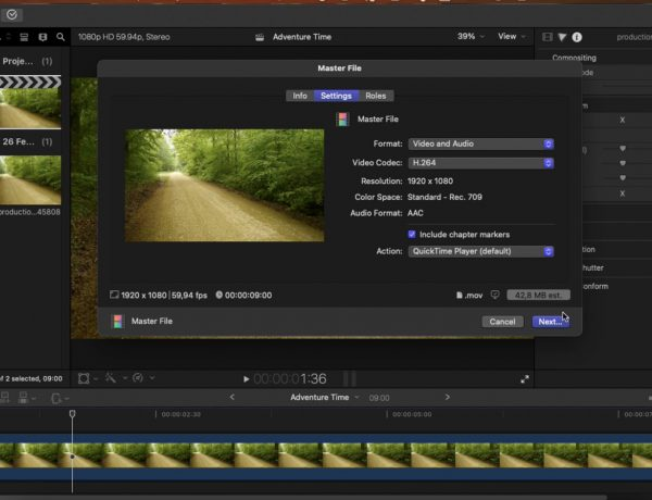 screenshot of final cut pro UI showing how to export