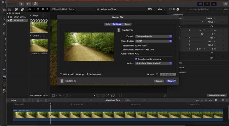 screenshot of final cut pro UI showing how to export