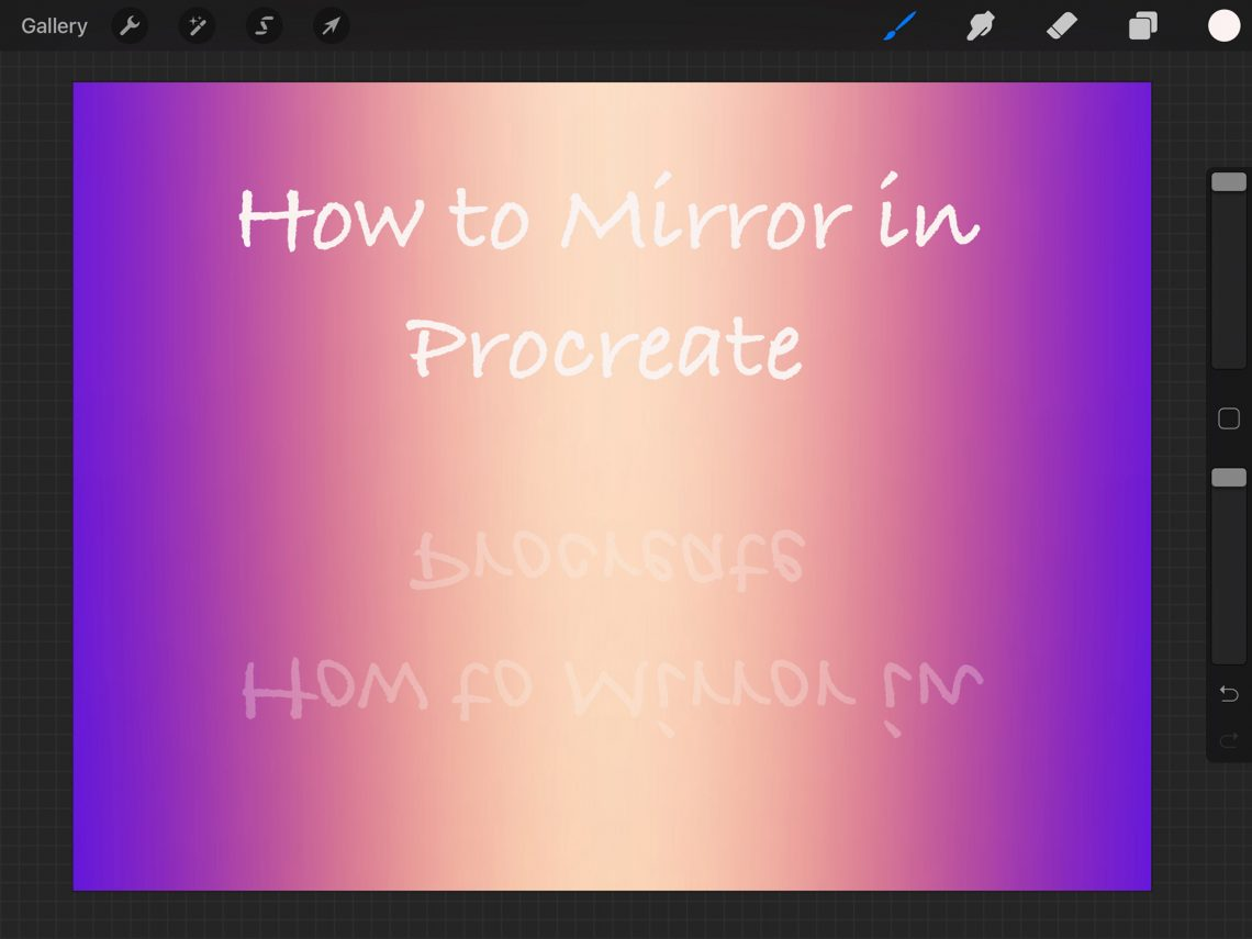 screenshot of procreate UI showing how to mirror
