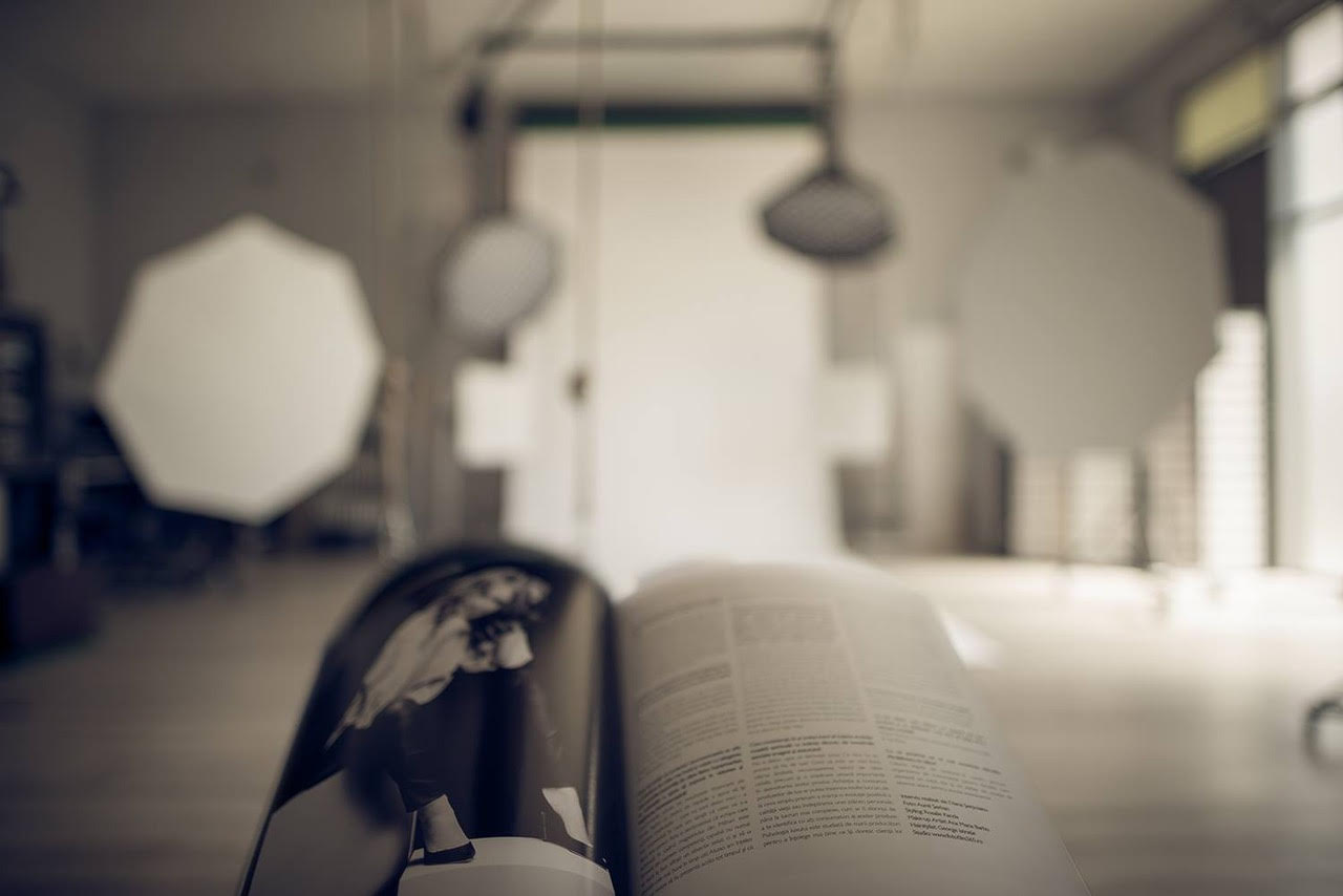 image from a photography studio with magazine in focus
