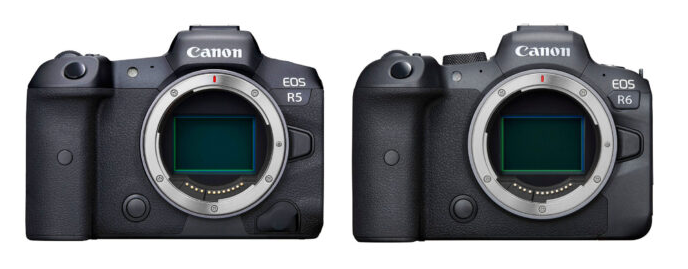 Canon r5 r6 cameras side by side