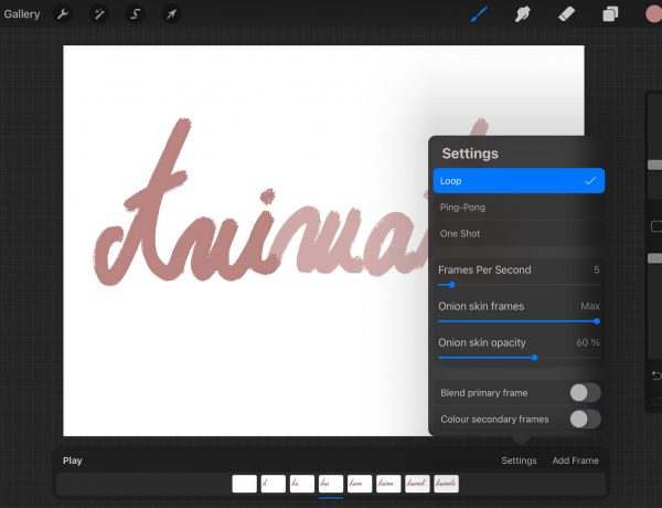 screenshot showing how to animate in procreate