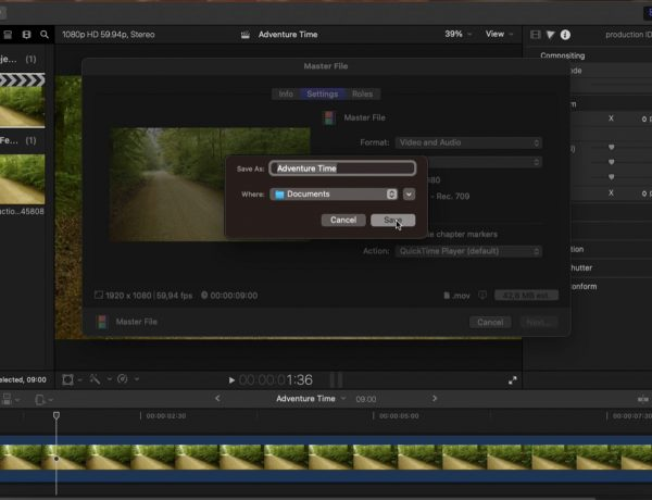 screenshot of final cut pro ui showing how to save
