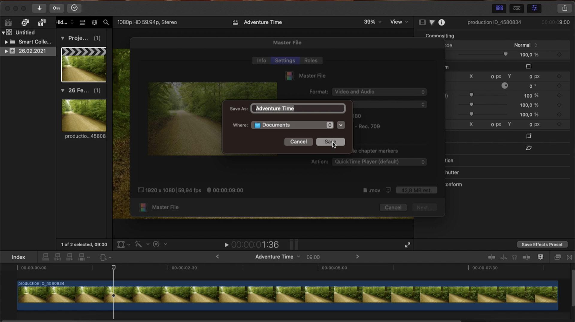 screenshot of final cut pro ui showing how to save