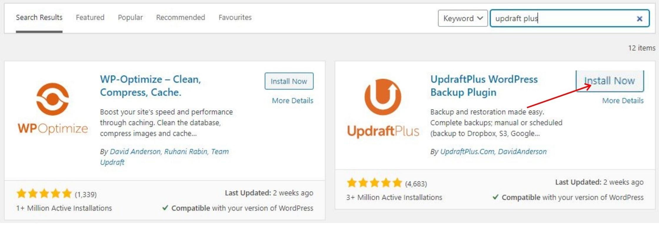 install updraftplus plugin