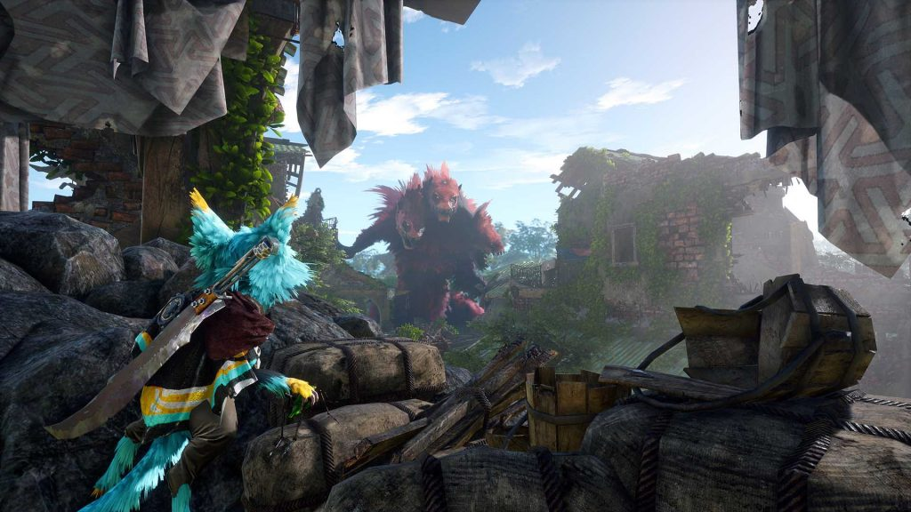 A Biomutant looking up at a larger monster
