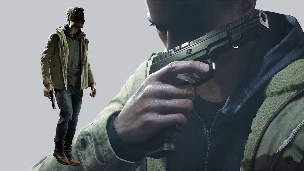 Ethan Winters holding a gun