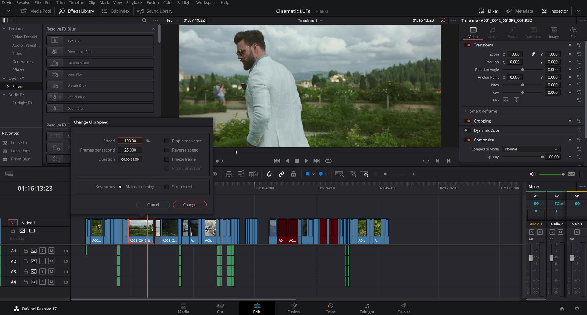 davinci resolve change