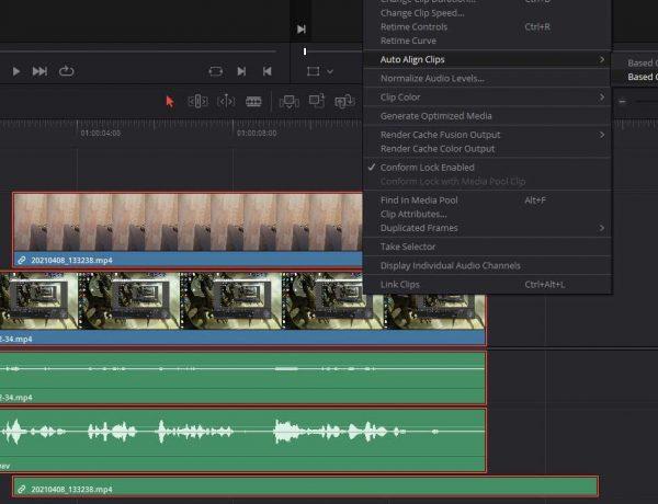 sync multiple cameras davinci