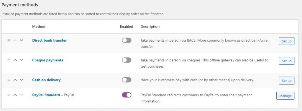 setup payment methods and paypal in woocommerce