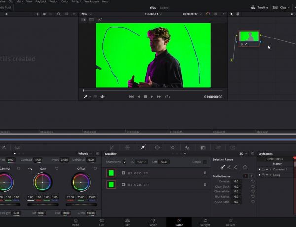 remove green screen davinci resolve