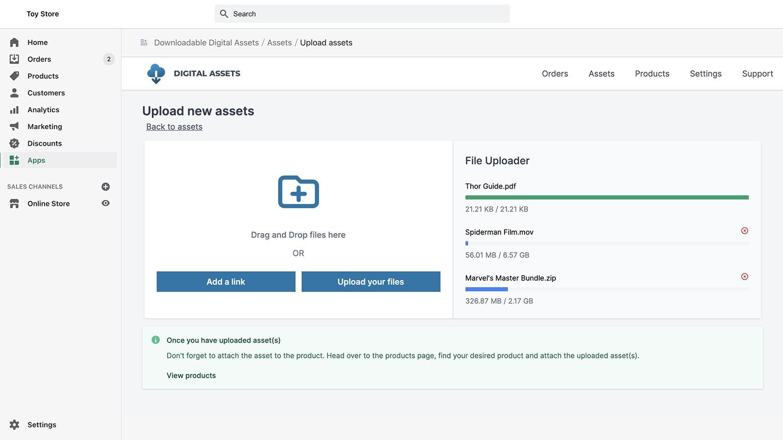 sell digital downloads app shopify dashboard upload files