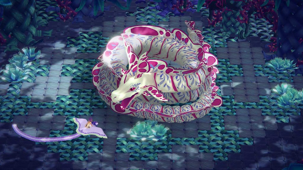 An image of Tass and their carpet dragon looking at a much larger dragon