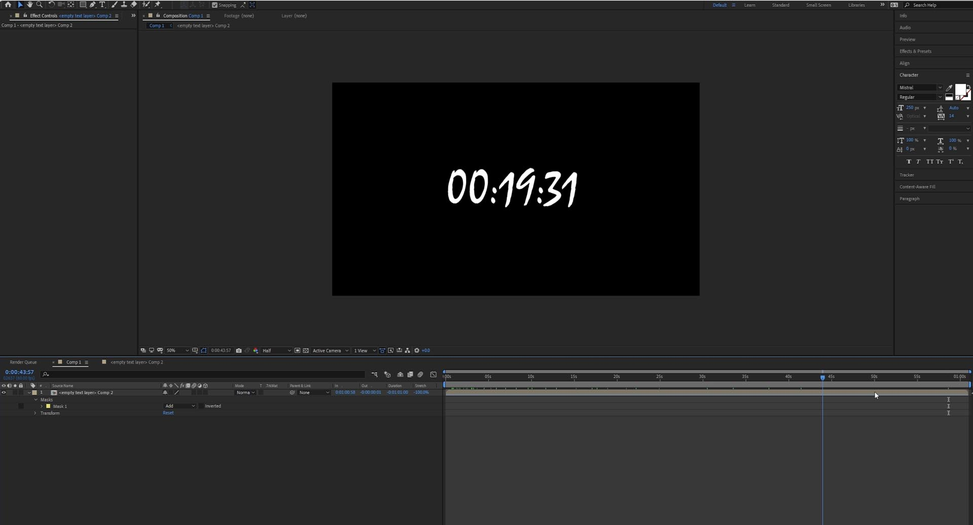 countdown timer in after effect