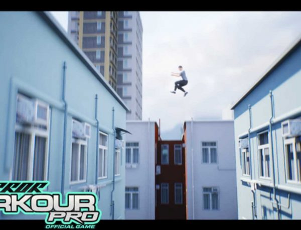 An image of a character jumping across a large roof gap