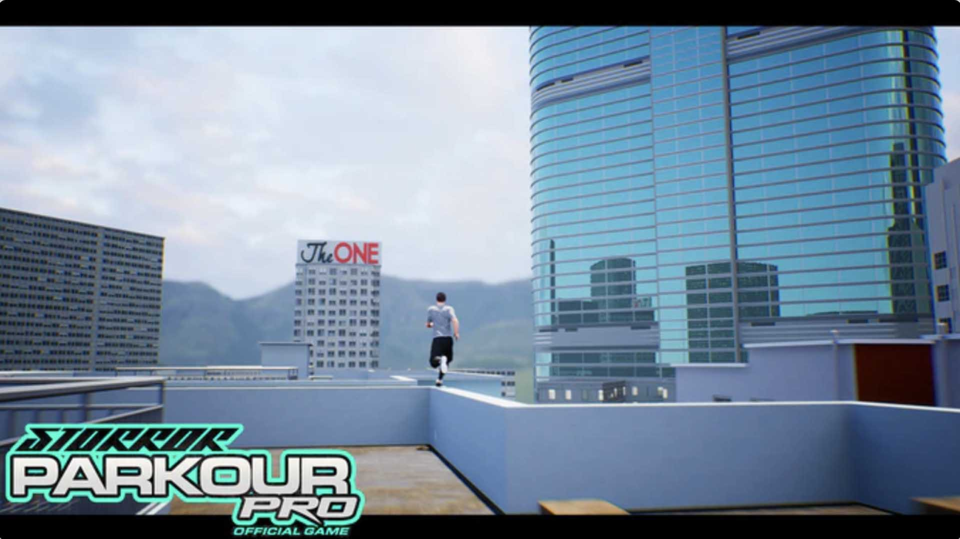 a character running along the edge of a high rise building