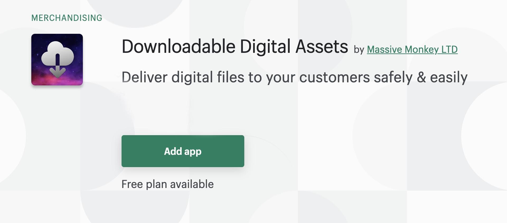 digital assets app page