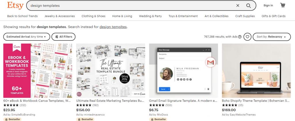 Design Templates - Screenshot from Etsy.com