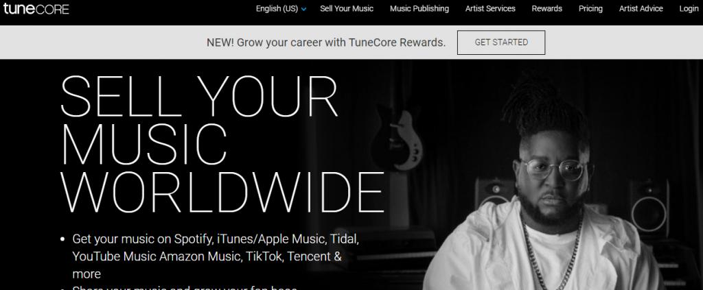 Music - screenshot of Tune Core - marketplace to sell music.