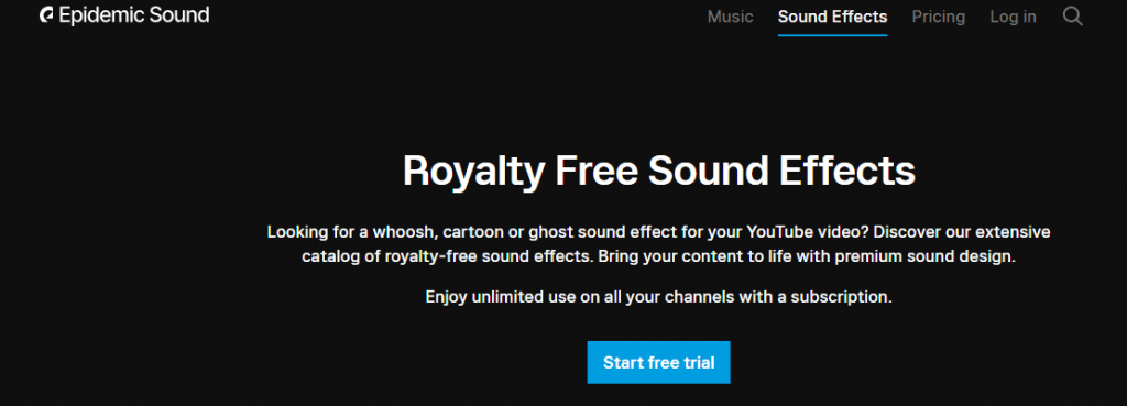 sound effects - example website is Epidemic sound in home page screenshot