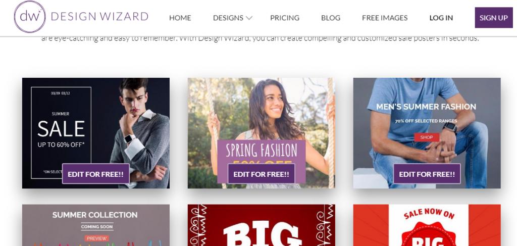 Poster or Flyer Designs - Screenshot of DesignWizard, an online marketplace.