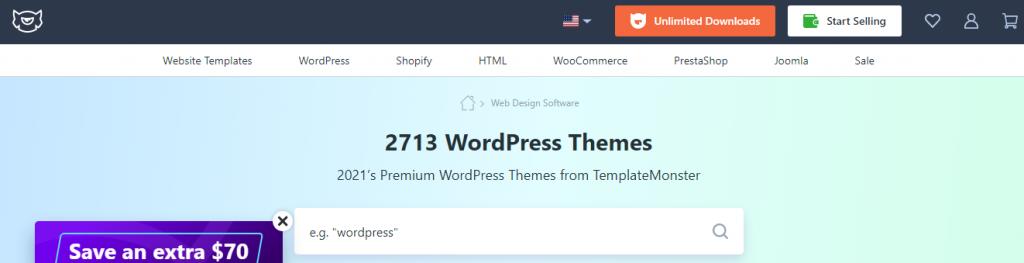 WordPress themes - a screenshot from templatemonster.com