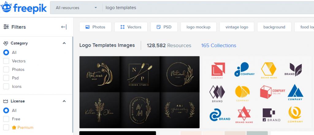 Logo Templates - a screenshot from freepik.com