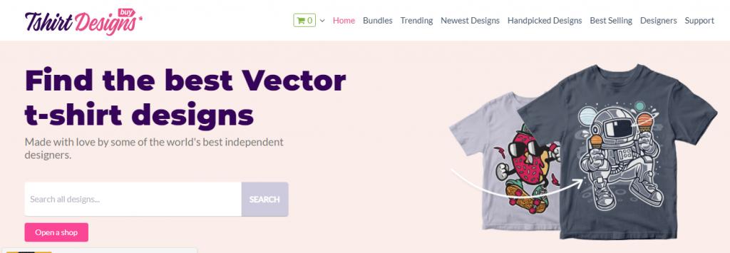 T-Shirt Designs - a screenshot from buytshirtdesigns.net