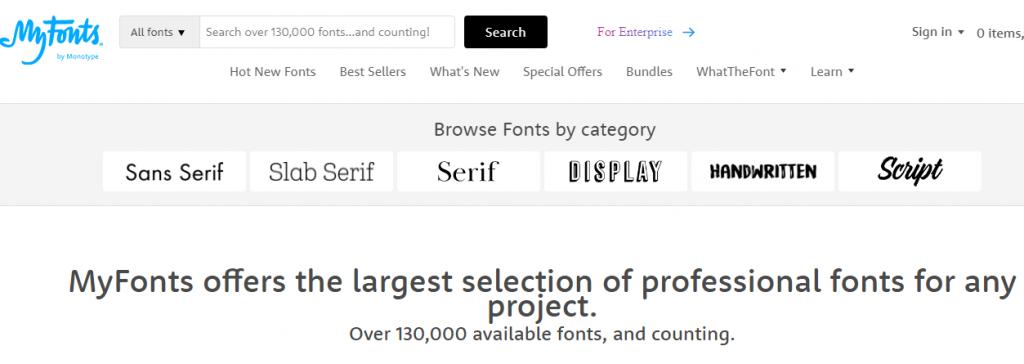 Fonts - a screenshot from myfonts.com