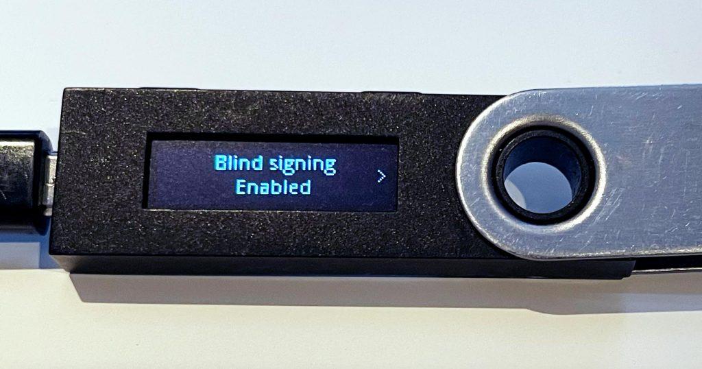 blind signing ledger enabled